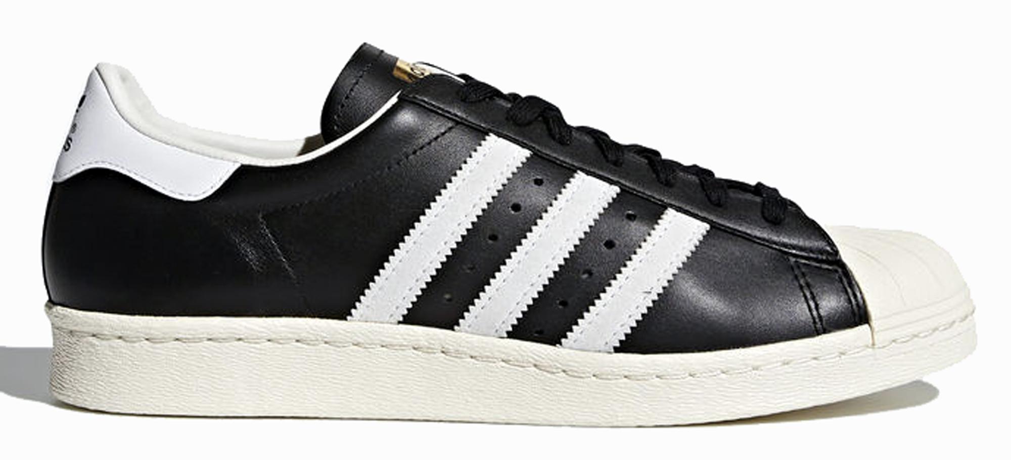 Sneakers Adidas Superstar 80s G61069M (gum outsole) scarpe uomo in pelle nera/bianca