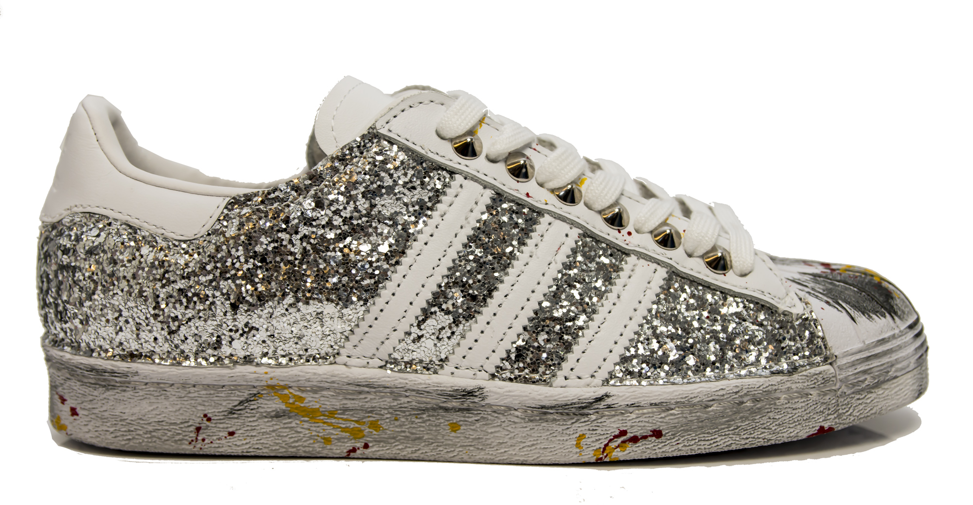 76daa2d5adb1c Sneakers Adidas Superstar ISTANBUL personalizzate in glitter argento e  borchie