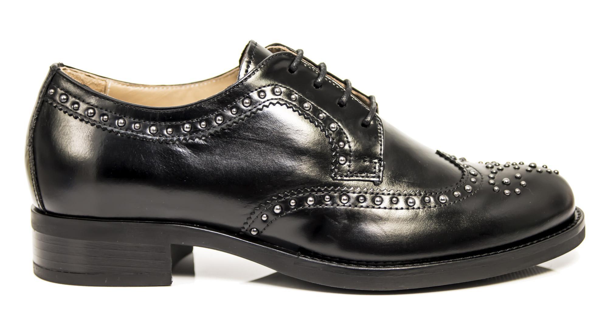 Francesine NeroGiardini A806344-100 6344 scarpe stringate donna con borchie b7da7b96f78