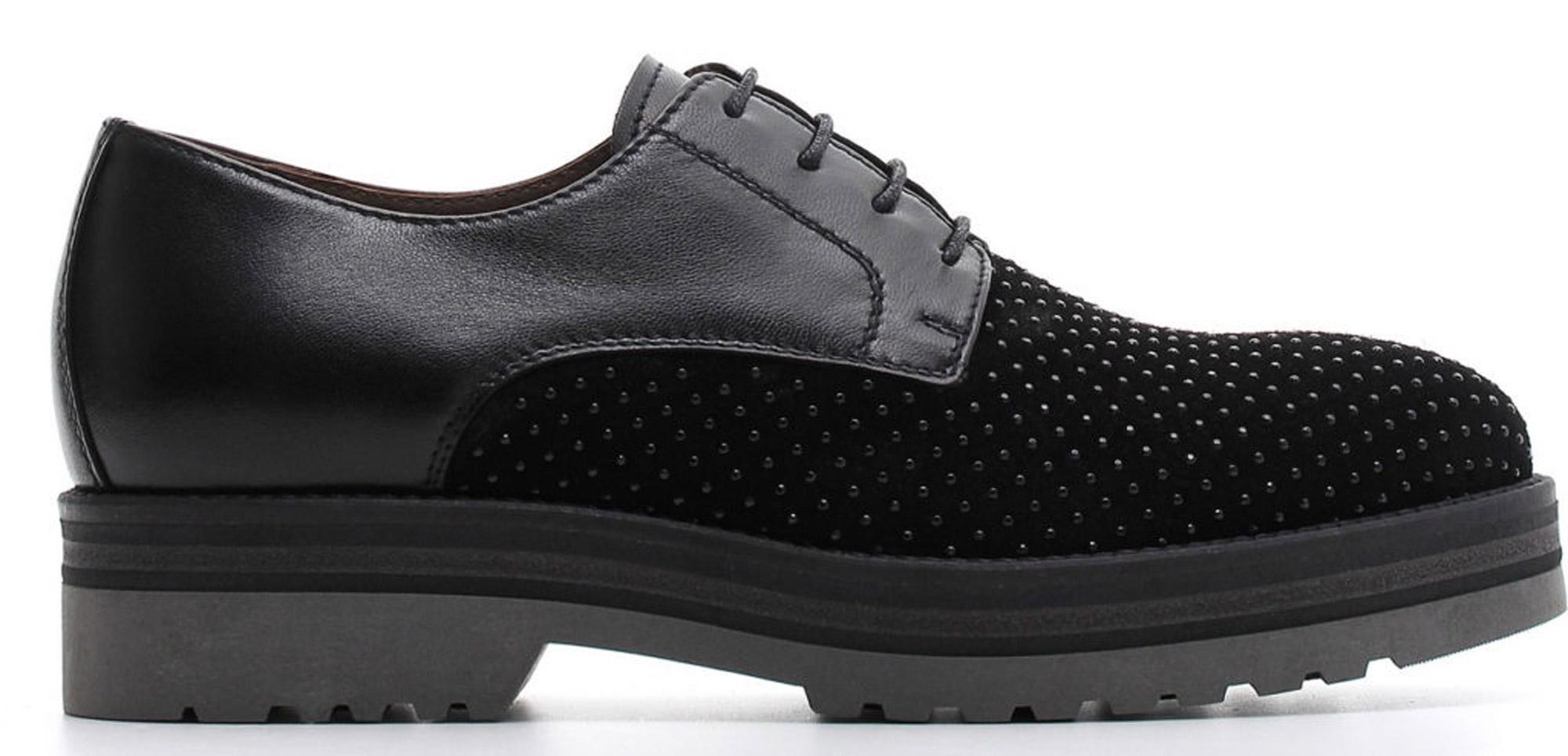 Francesine NeroGiardini A806560-100 6560 scarpe stringate donna con micro  borchie 5e9fbdd397f