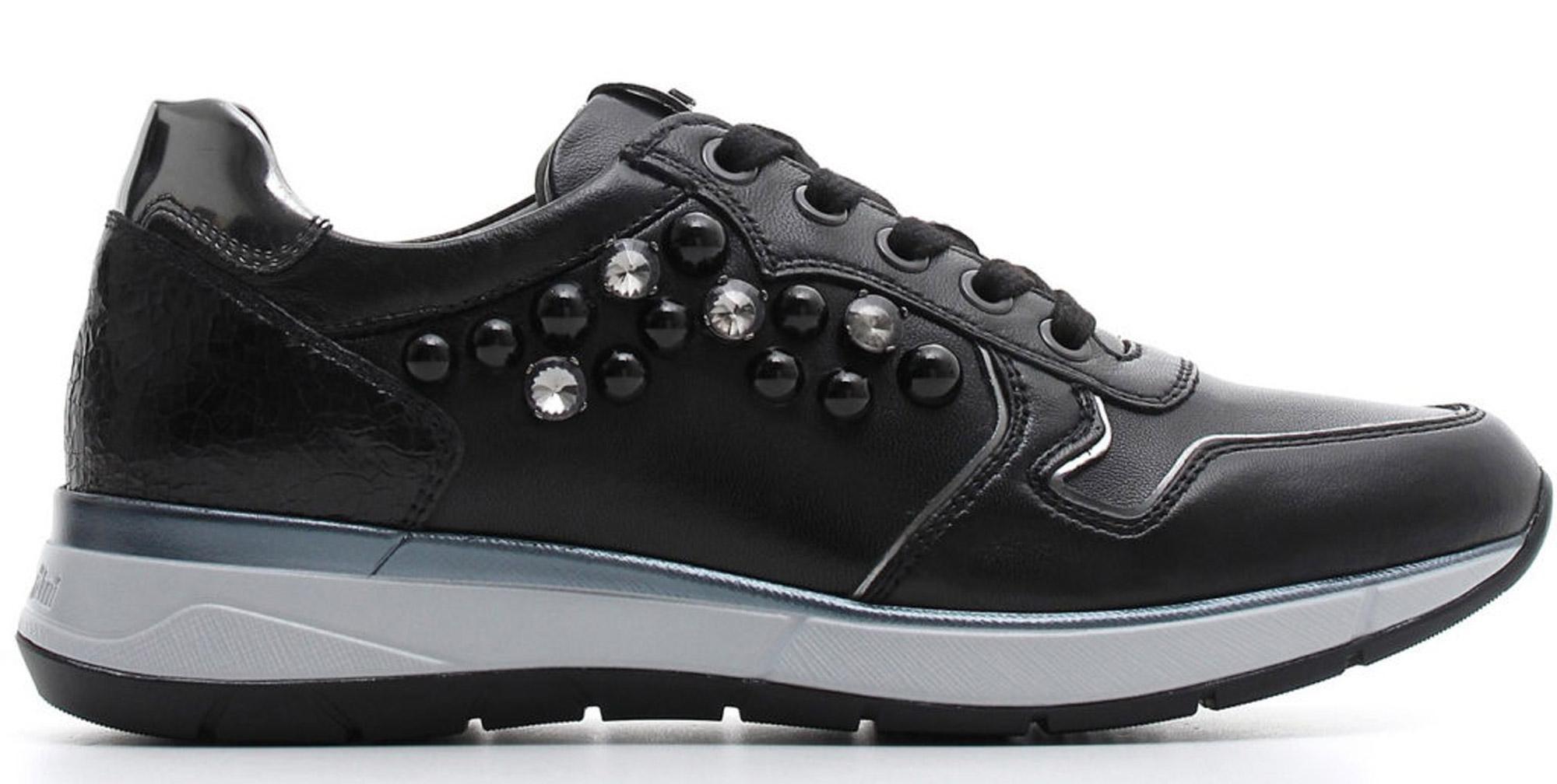 Sneaker NeroGiardini A806580-100 6580 scarpe sportive nere donna con perle e  strass e29a1becb5c