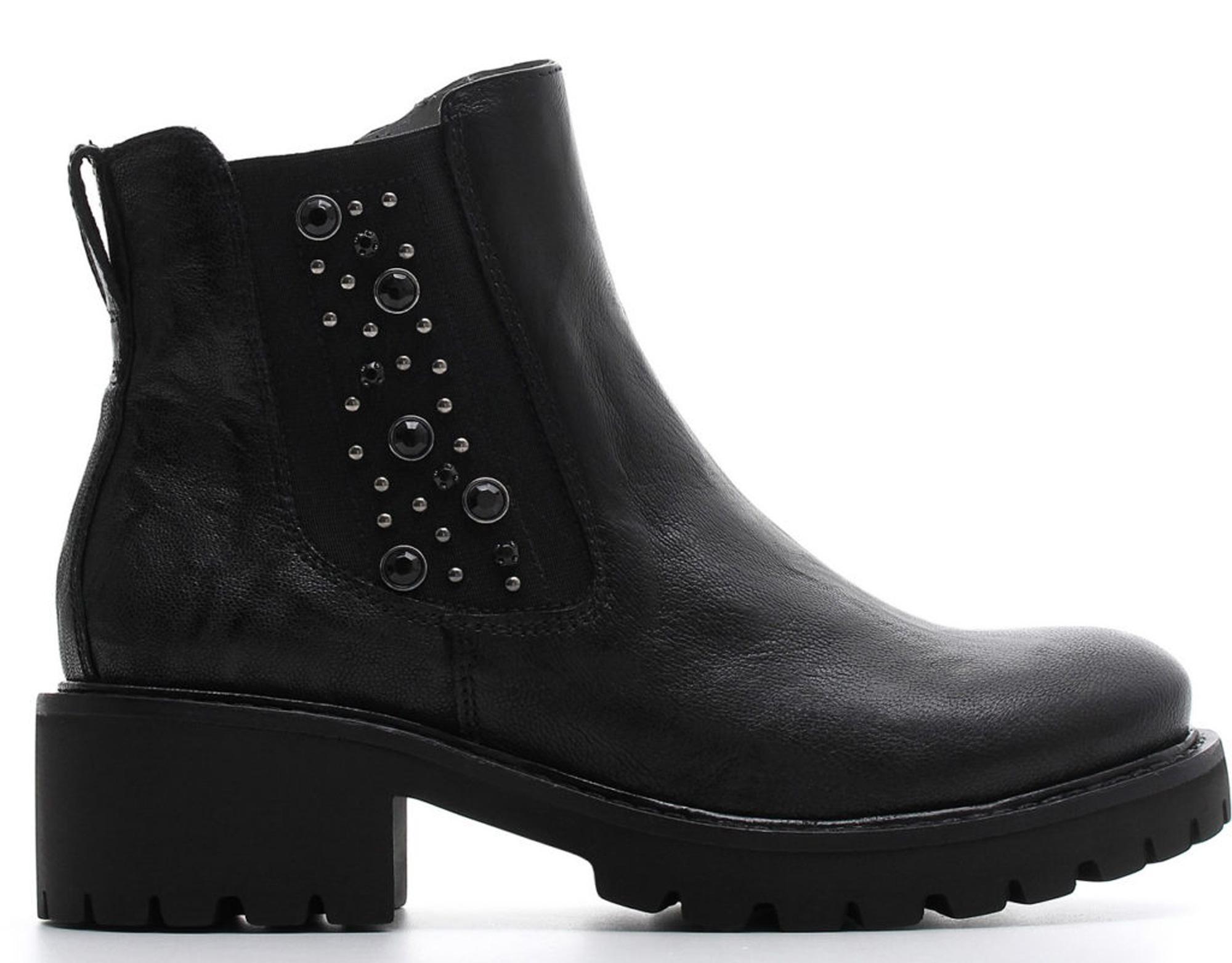 Polacchini NeroGiardini A807140-100 7140 scarpe donna con pietre laterali 723aa9dfc6f