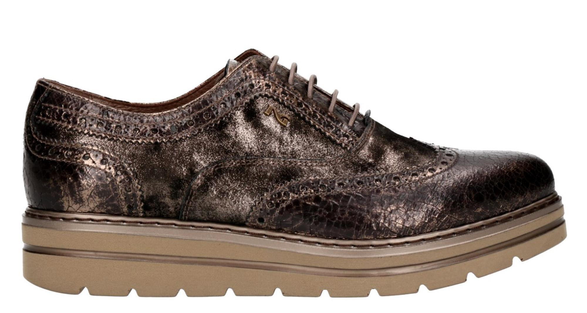 Francesine NeroGiardini P806371-312 6371 scarpe stringate bronzo donna con  platform 80ef5ba71a5