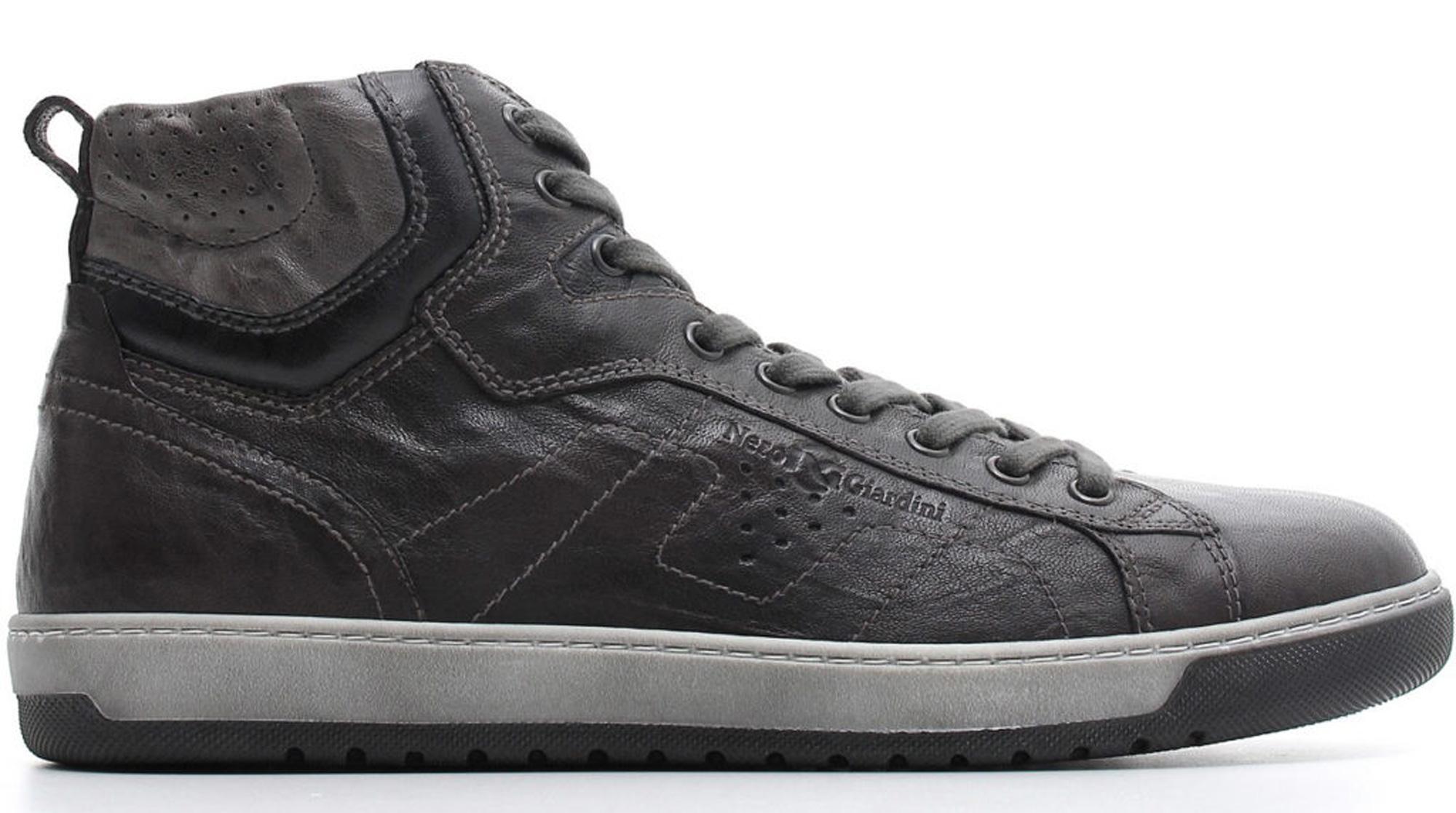 Sneaker mid NeroGiardini A800490-109 0490 scarpe sportive uomo in pelle  grigio piombo bc8b83b0ef3