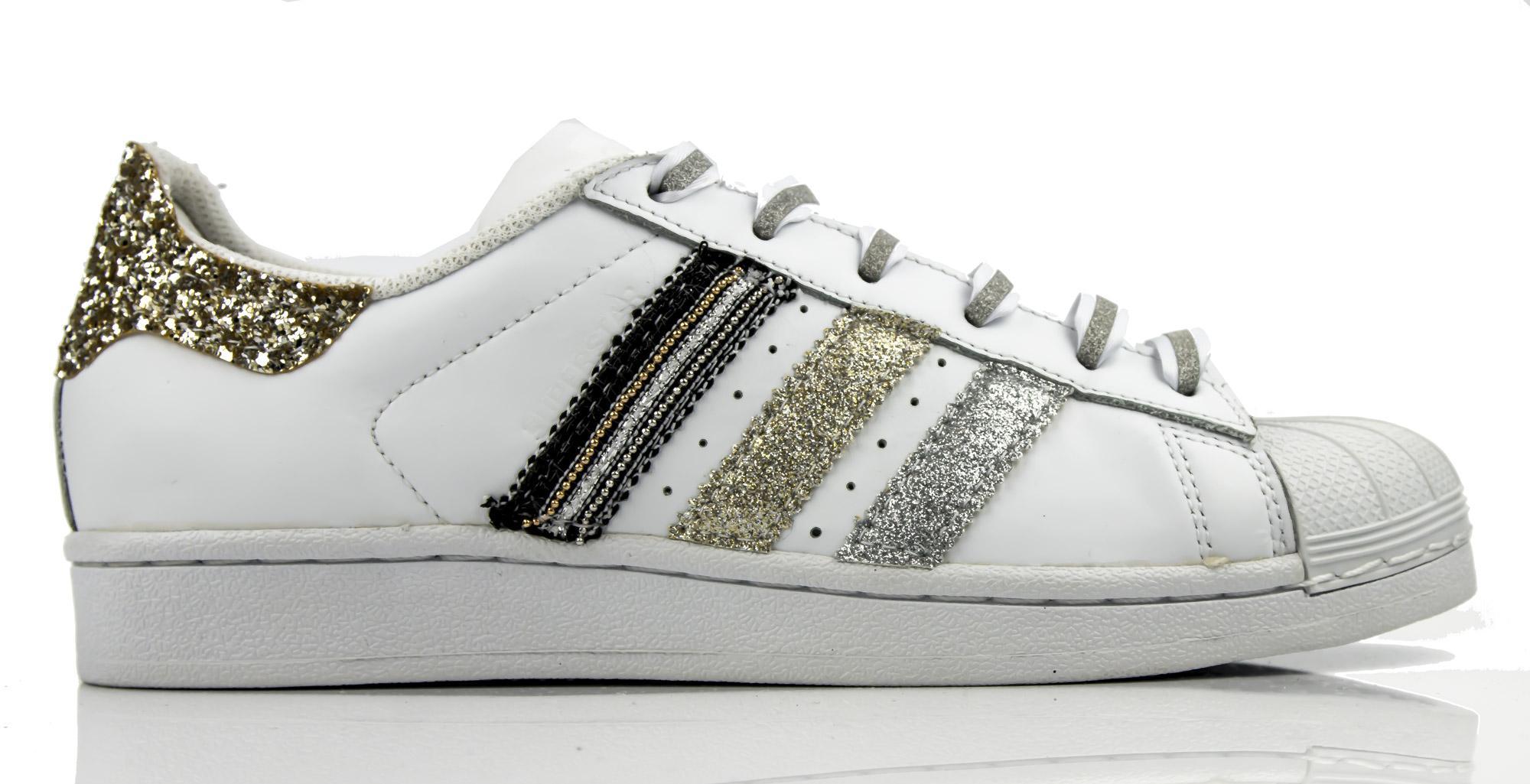 Sneakers Adidas Superstar Elva personalizzate da glitter oro