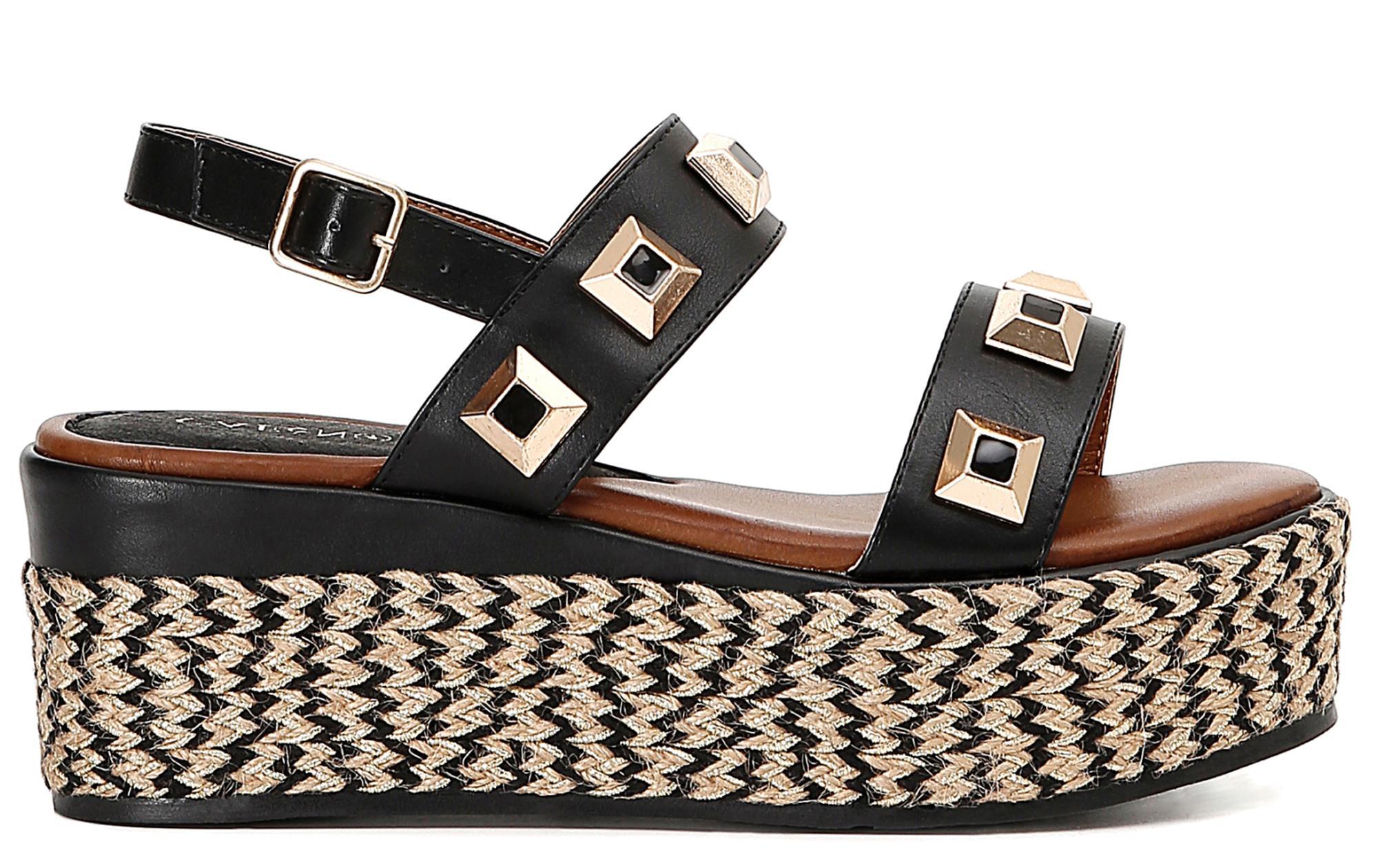Dettagli su Sandali CafèNoir HD905 scarpe donna nere decorate da maxi borchie quadrata
