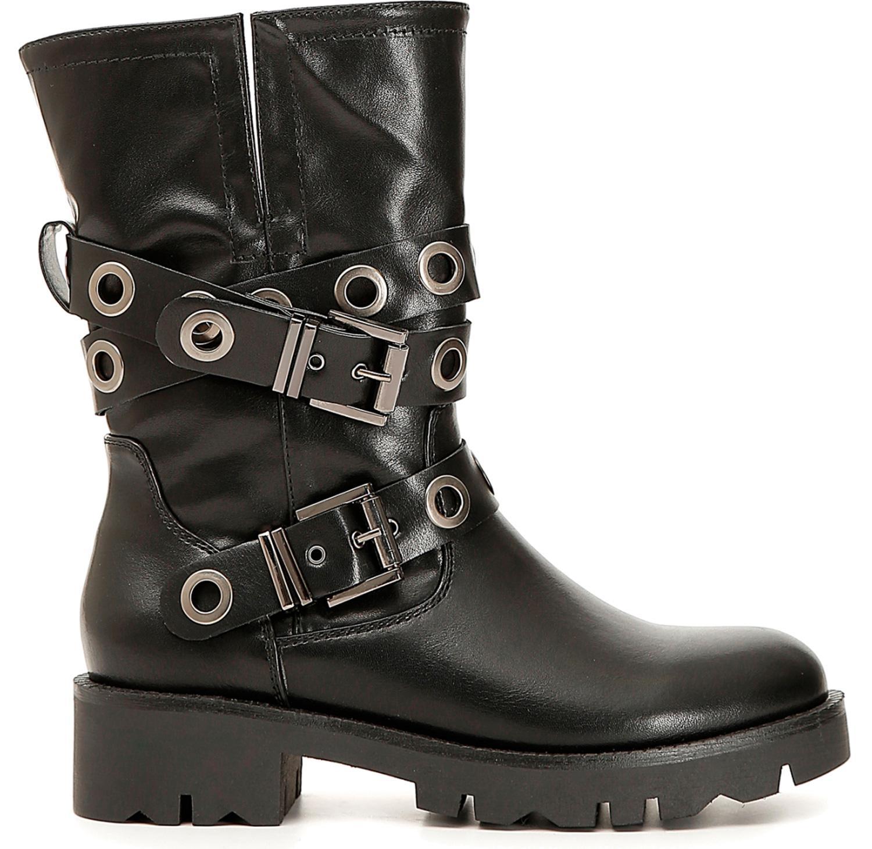 Dettagli su Stivali CafèNoir FE972 scarpe donna con doppia fibbia